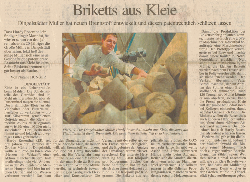Zeitungsartikel in der 'Eichsfelder Allgemeine' vom 11.05.2007